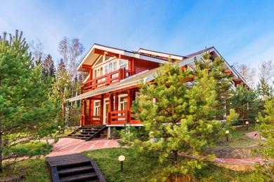 Купить современный деревянный коттедж по Симферопольскому шоссе, клееный брус, поселок Сосны