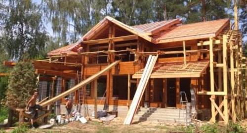 строительство элитного дома коттеджа виллы из дерева клееного бруса Villa-NATURE